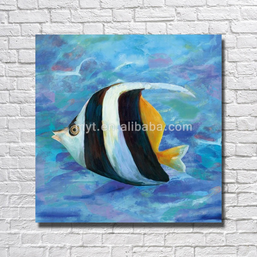 Ocean fish picture of kids handmade modern fish oil painting for bedroom decoration