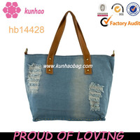 Edging denim handbag