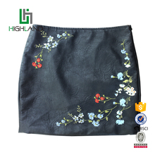 New style short sexy tight custom embroidered leather mini women pencil skirt