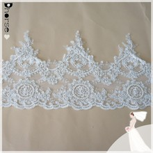 Hot sell hand beaded embroidery lace trim wholesale, bridal decorative lace trim beaded DHBL1573