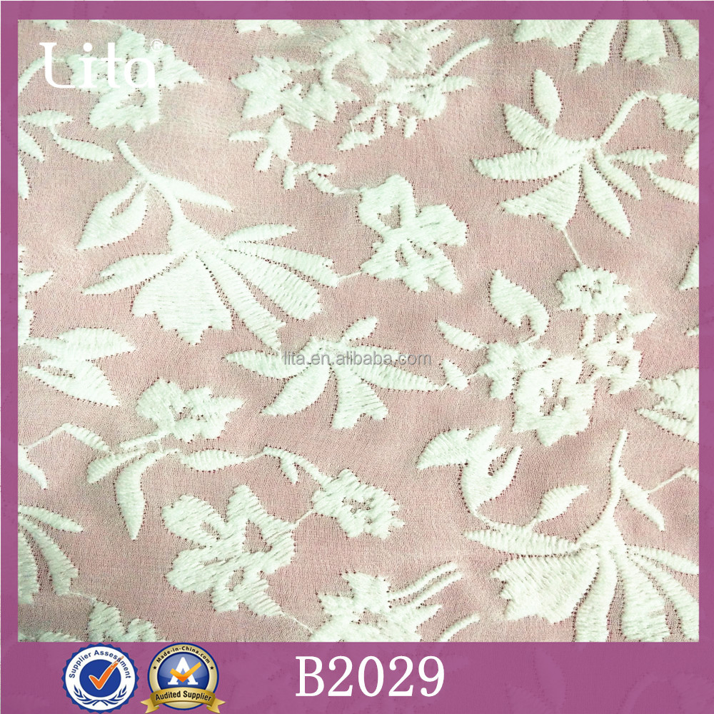 Lita B2029 embroidery florals lace organza fabric for girl clothes