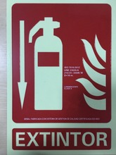 pvc Glow in the dark photoluminescent fire extinguisher sign emergency light fire safety sign