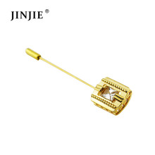 DBR049 funny gold diamond crystal lapel pin stick brooch bulk for men
