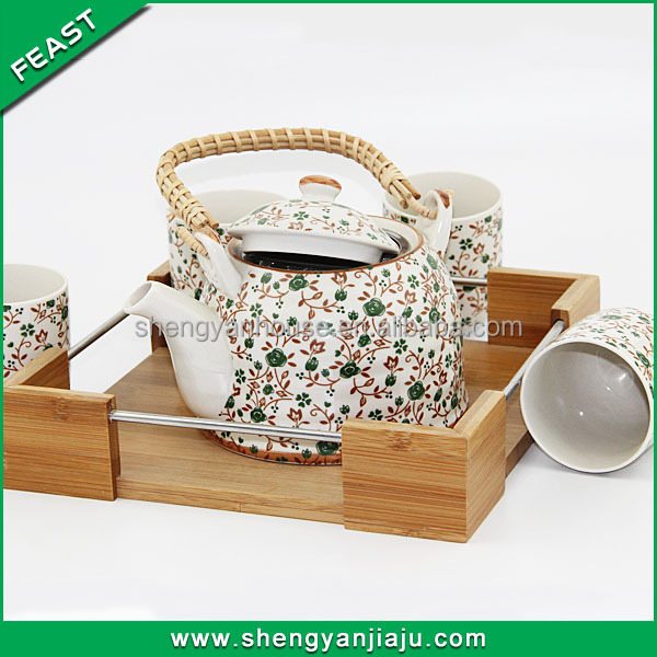 ceramic flower design japanese porcelain tea set