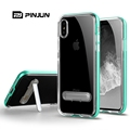 Multicolor pc bumper + crystal clear tpu back cover with kickstand mobile casing for iphone 8,for iphone x case