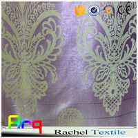 100% blackout flocked silk like polyester material fabrics for curtain - - african fabric wholesale