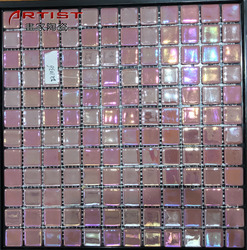 personalization ripple pink broken glass mosaic tile