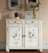 Living Room Side Cabinet Chinese Painted Corner Cabinet Country Style White Cabinet