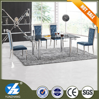 tempered glass top low price dining table