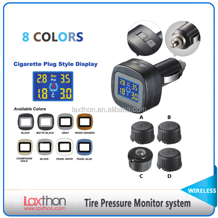 Car Cigarette Lighter Display wireless tire pressure monitoring system with external sensors