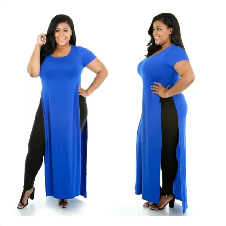 F20459A European fashion plus size maxi dresses fat women dress pictures short sleeve pure color split dress plus size clothing
