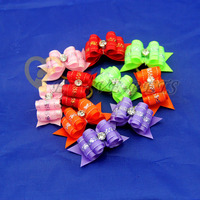 V1014 Wholesale Dog Hair Bows Pet Rhinestone Hair Accessories Dog Grooming Bows Hair Ornaments Various Color Fast Shipping