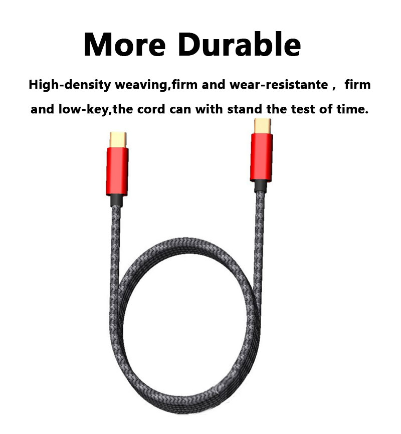 Aluminum Shell Nylon Braided 3.0 Fast Charging Type c to Type c Data Cable Supported for iphone