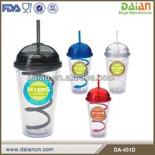 Transparent plastic double wall ice cream tumbler with dome cover