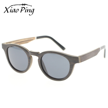 Fancy Custom Logo Mens Round Oak Wood Anti-uv Polarized Sunglasses