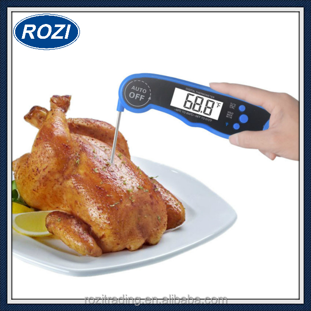 Waterproof Instant Read Meat Thermometer Digital Food Cooking Thermometer with Anti Corrosion Foldable Probe for Kitchen