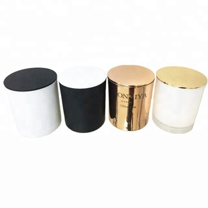 Black white copper customized colored glass candle jars with decorative metal candle lids