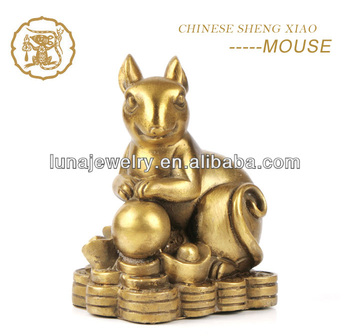 Fabulous Hong Tze Collection-Triple Chinese zodiac animals Resin Rat Statue