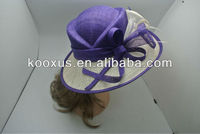 Purple Sinamay organza church hat