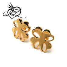 Shinny finish 18k gold plated lovely for leaf clovers earring stud,stainless steel simple daily wear earrings