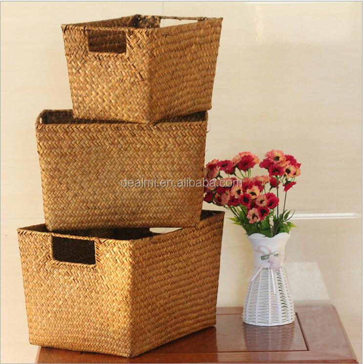 DEMIZXX799 Wholesale Two Colors Straw Material Different Size Free Shipping Home Using Baskets Storage