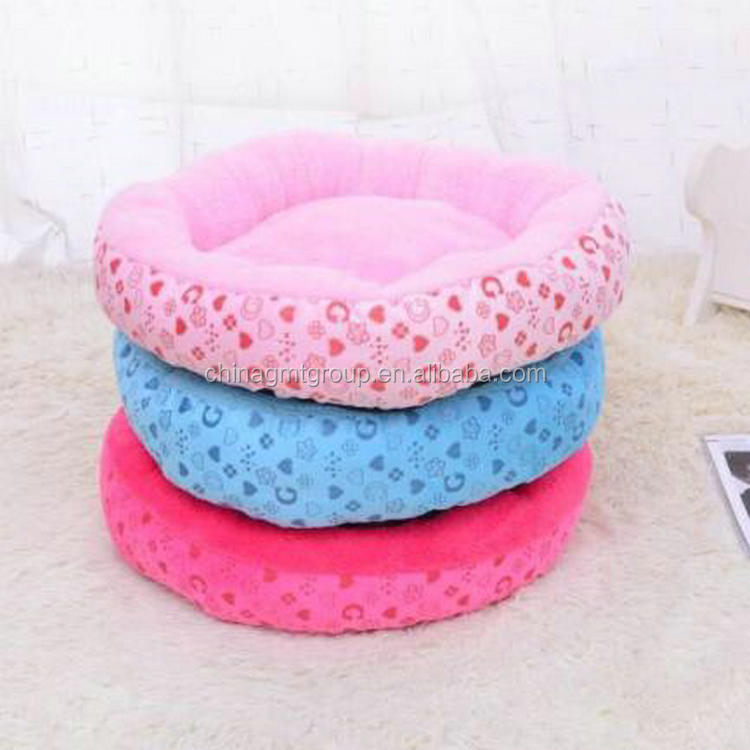Round shape comfy printed flannel fabric beautiful popular pet bed GMT06053 harmnoy dog bed