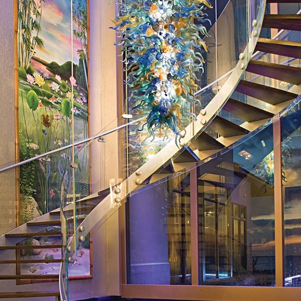 Prima curved stainless steel glass staircase/stairs indoor