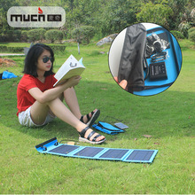 14W Waterproof Foldable Double USB Output solar panel portable charger for phone