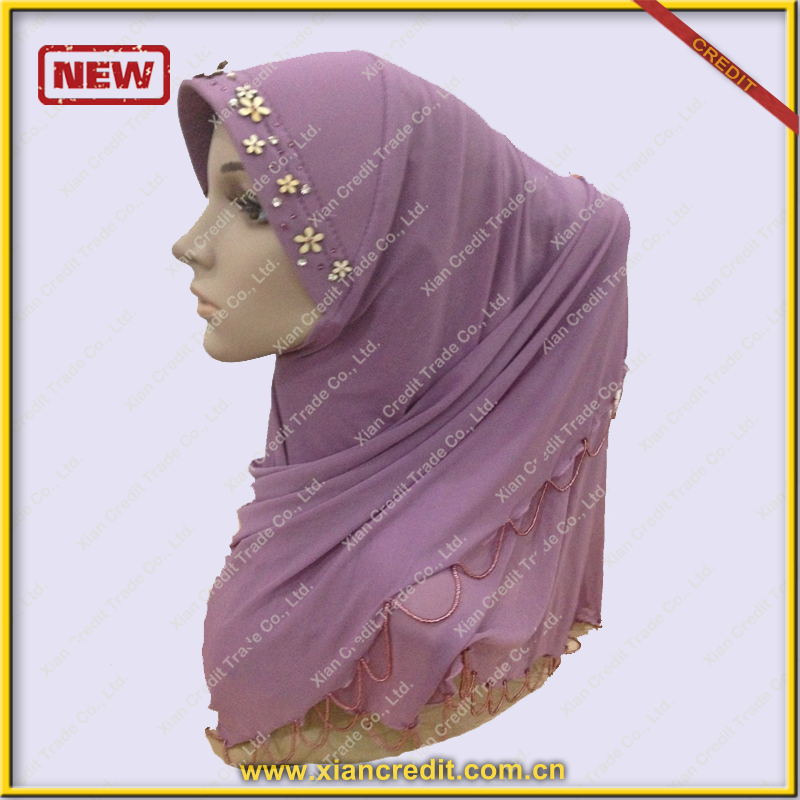 Whole Muslim Girl Latest Fashion Hijabs with Glitter Beads