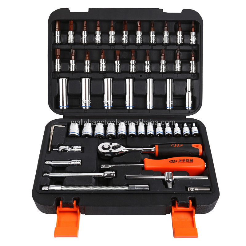 "Socket Set High Quality 53pcs 1/4""DR Socket set Ratchet Wrench Combo popular Tools Kit for Auto Repairing"