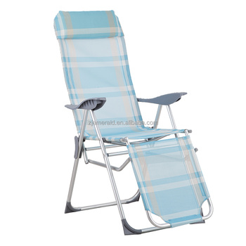 foldable aluminum beach chair with footrest and 5 adjustable ways