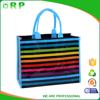 High quality colorful stripe cool durable opp woven shopping bag