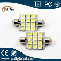 Factroy directly sell 12V 5050 chips led car bulbs waterpoof 12smd festoon led auto light bulb