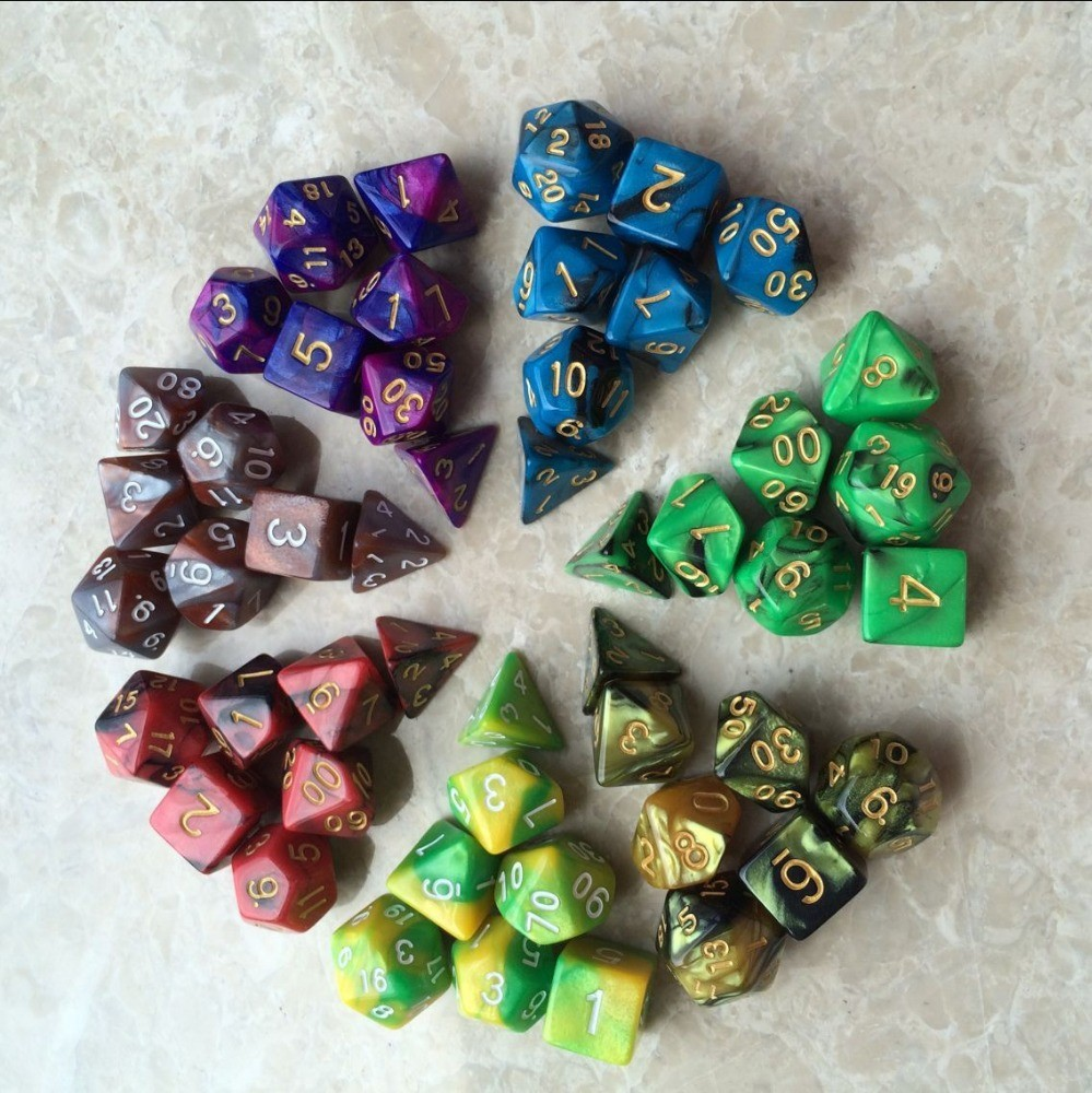 New 7pc/lot dice set High quality Multi-Sided Dice with marble effect d4 d6 d8 <strong>d10</strong> <strong>d10</strong> d12 d20 DUNGEON and DRAGONS rpg dice game