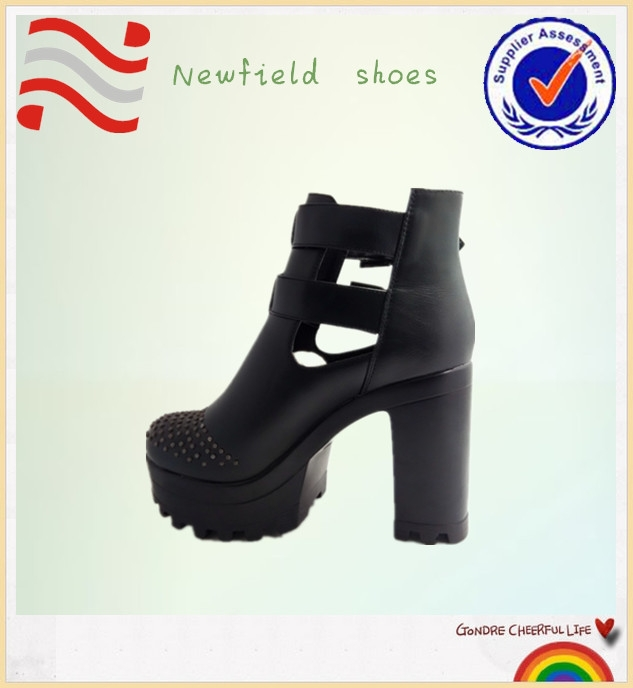 Fashion Sexy lady shoes classic black high quality leather high heel women shoes