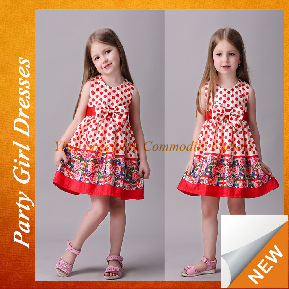 SPRA-056 printed simple dress dots girls' dress children frocks designs