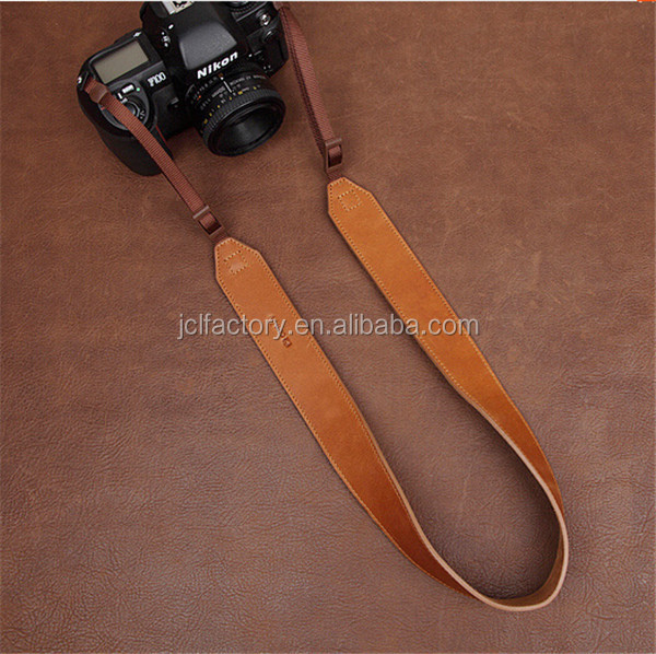 Adjustable custom vegetable genuine leather camera neck strap