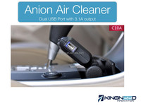 Negative ion air vehicle purifier with dual USB car charger 5V 3.1A plus anion cleaner