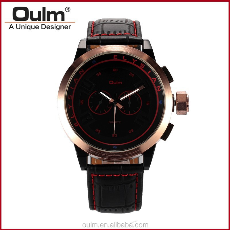 2015 oulm watch new design, leather strap watch, luxury watches men