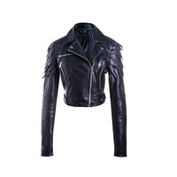 China manufacturer pu black leather jackets for women