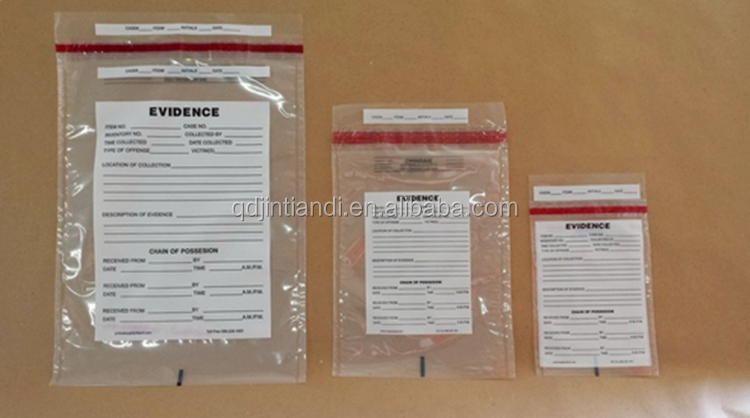 Police Evidence Bags with Adhesive Tape Police locking Security Evidence Bags