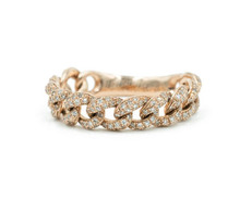 14K Rose Gold Diamond Pave Chain Link <strong>Ring</strong> Cuban Link Band <strong>Ring</strong>