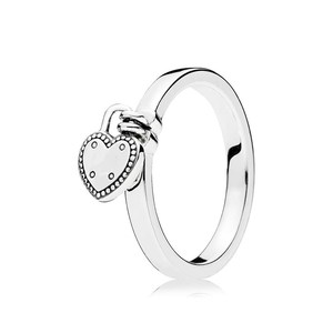 Hot Items Jewelry Sterling Silver Ring Heart-shaped Padlock For Gift