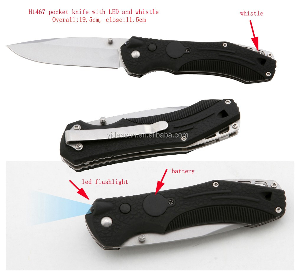 H1467 knife with LED flashlight and whistle