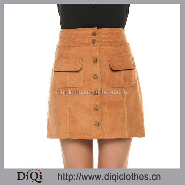 Guangzhou High Quality Customized Women Fashion Wheat High Waist Front Button Closure Corduroy Pocket Pencil Skirts