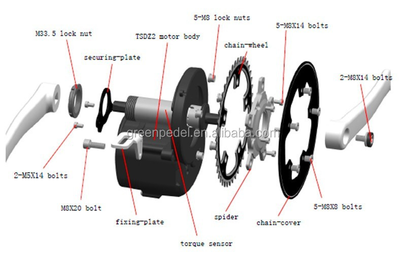 greenpedel tsdz 2 tongsheng 36v 350w electric bike mid