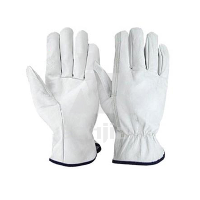 Men's white leather working gloves sialkot