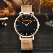 Women Custom Logo Rose Gold Stainless Steel mesh Band Ladies Quartz Watch