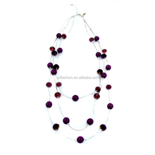 Handmade Natural multilayer round Crystal Gemstone Pendant wire necklace