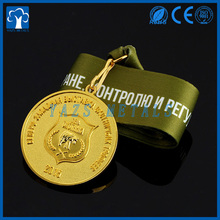 custom round gold plating metal engrave saint medal
